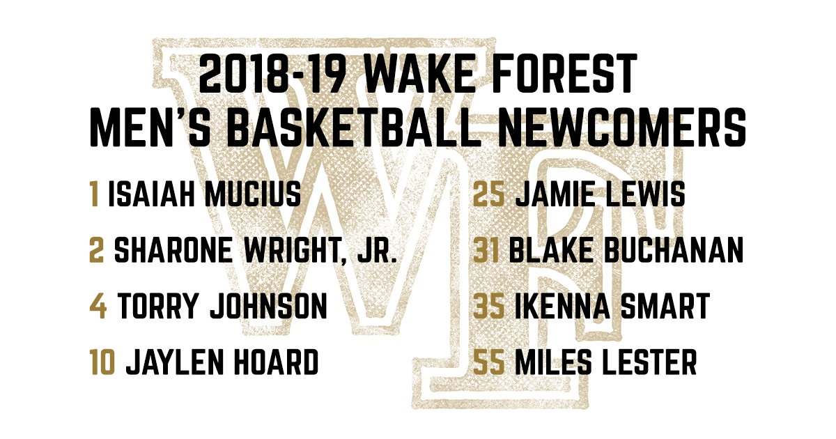 Curious what numbers our newcomers will wear this season? The 2018-19 roster is online at wakeforestsports.com/sports/m-baskb…