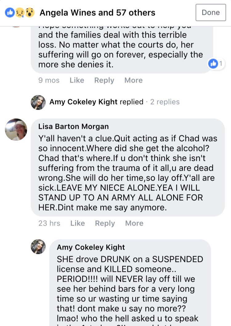 this pos really blamed Chad for HER niece driving drunk and high w a