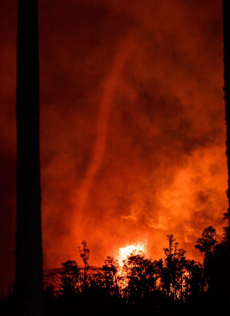 I captured a volcano tornado at fissure #8 last night. #Kilauea #Hawaii