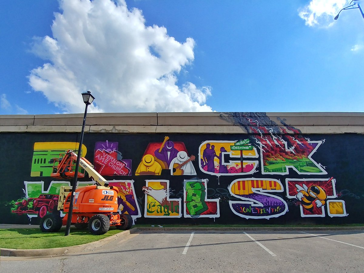 New Black Wall Street mural in Tulsa is almost finished. Official unveiling on Friday!