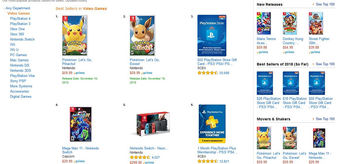 Pokemon Let S Go Pikachu And Let S Go Eevee Are Number 1 And 2