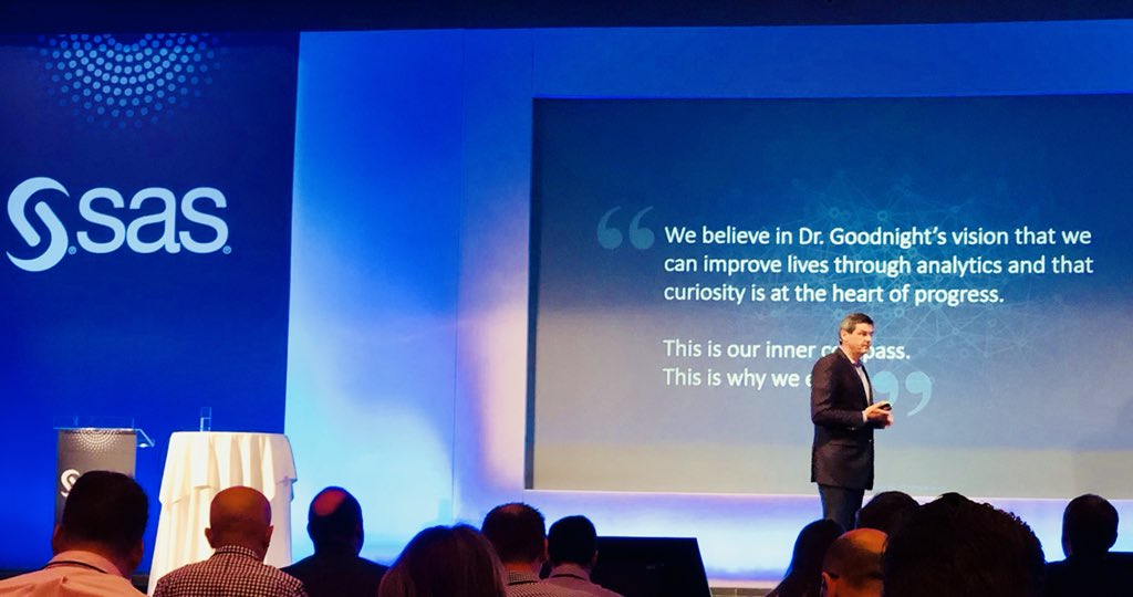 Improving lives through Analytics... SAS' future is underpinned by our future vision  #Sasarconf @oschabenberger<br>http://pic.twitter.com/EkIQZXJVr7