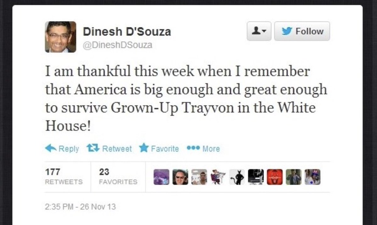 Never forget that Dinesh D'Souza unapologetically tweeted this right after the murder of Trayvon Martin. https://t.co/Df1cB55aFH