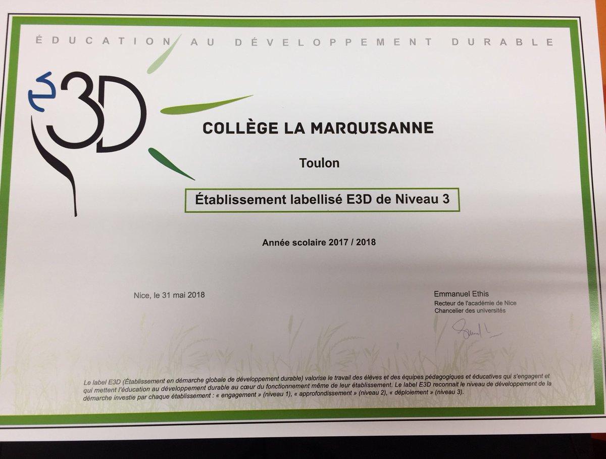 Collge La Marquisanne Labellisation E3d Des