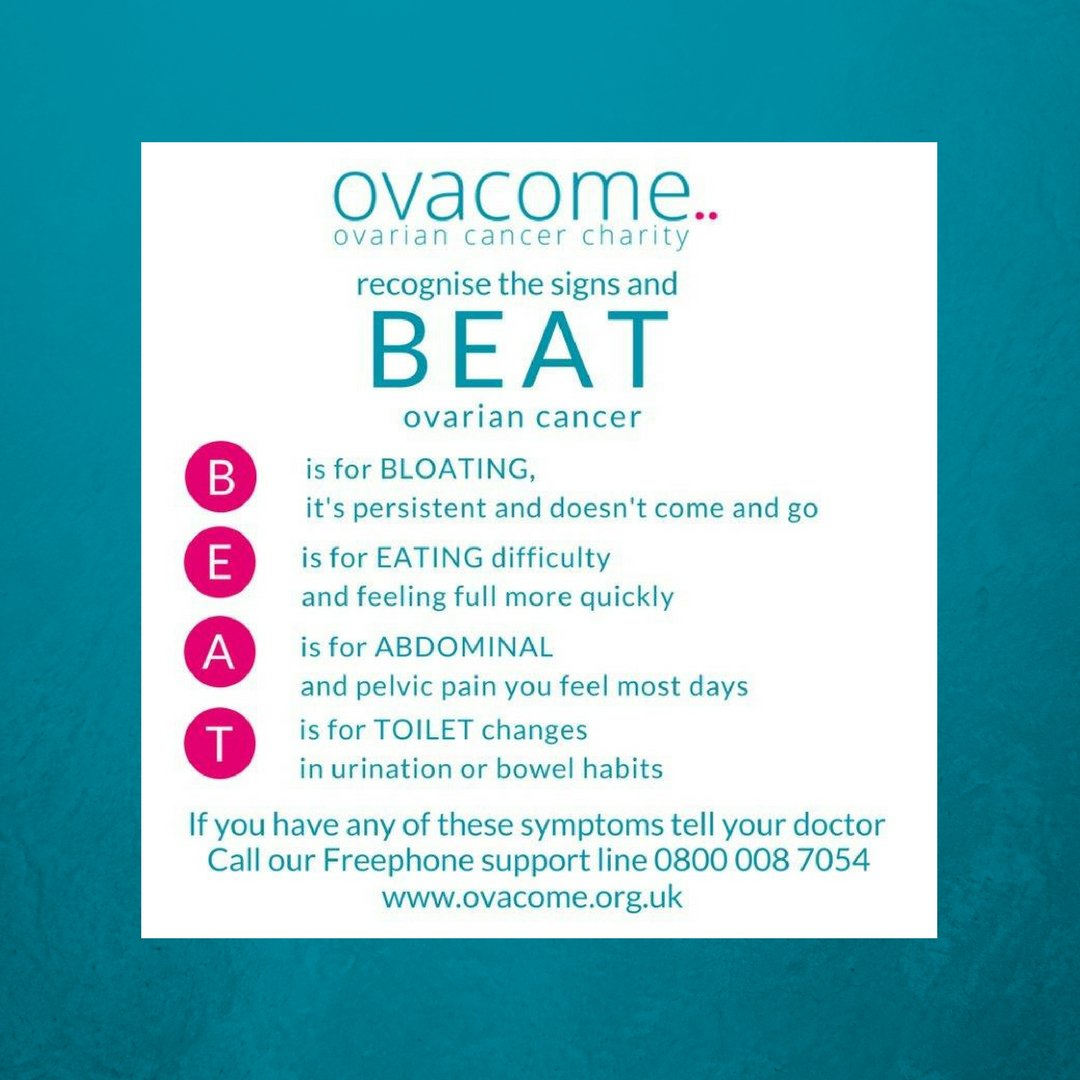 Ovacome On Twitter Smear Tests Do Not Detect Ovarian Cancer Please Share Our B E A T Message And Help Us Raise Awareness Of The Signs And Symptoms Of Ovarian Cancer Early Detection Saves Lives