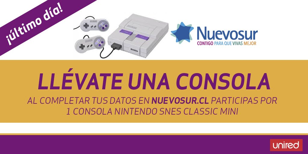 #CONCURSO @Nuevosur_cl #consola 🙂¡último día para participar! 😮😱ingresa aquí https://t.co/FNQdkdaphX ¡no te lo pierdas! #unired https://t.co/JL9w0A5ZZK