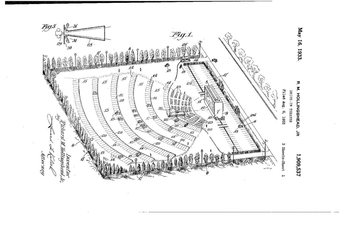 Brendan Cormier On Twitter I Love Patent Drawings Here S The Patent To The First Drive In Movie Theatre In Camden Nj 1933