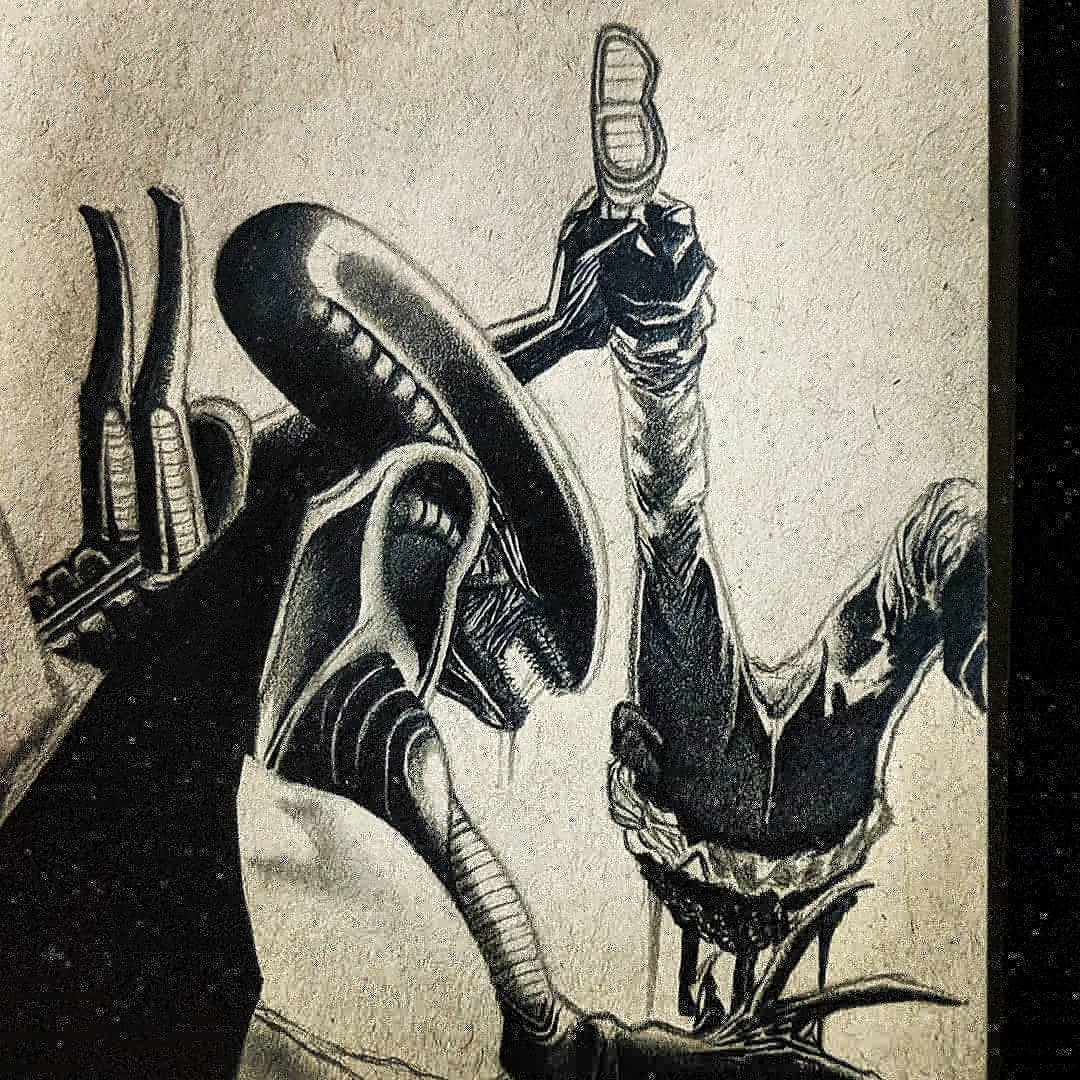 Felt like doodling some Xenomorph today. #Alien #drawing