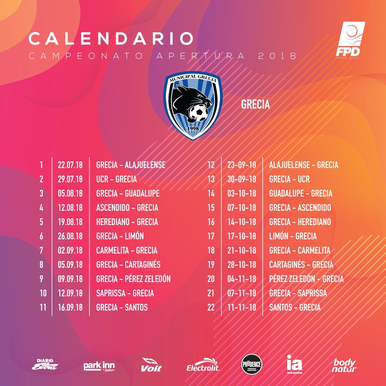 1998 Calendario.Unafut On Twitter Calendario Apertura2018 Municipalgrecia