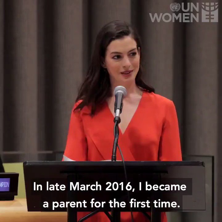 """Why do we continue to undervalue fathers and overburden mothers?""""  Will you join our Goodwill Ambassador Anne Hathaway in calling for paid maternity & paternity leave for all parents?"""