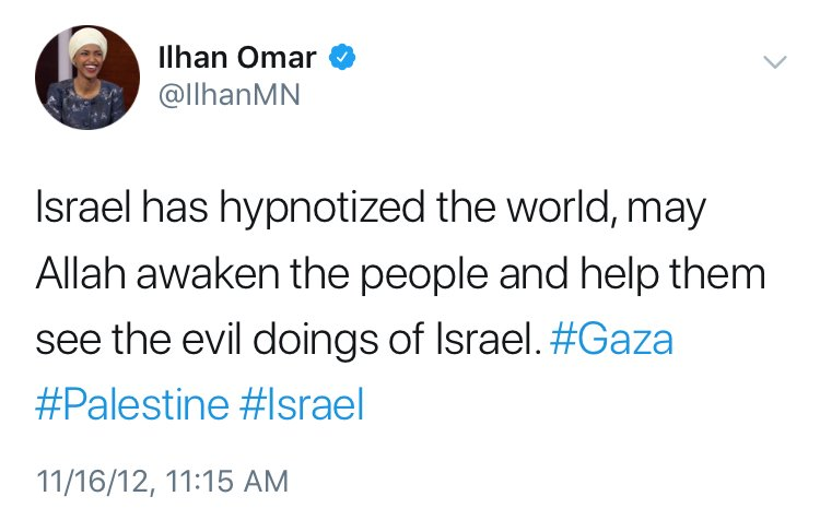 """Image result for Ilhan Omar """"Israel has hypnotized the world"""" tweet"""