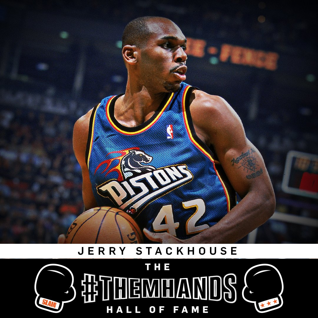 Congrats to Jerry Stackhouse on his induction into the SLAM #ThemHands Hall of Fame.   Stack was famous for squaring up behind closed doors. @jerrystackhouse