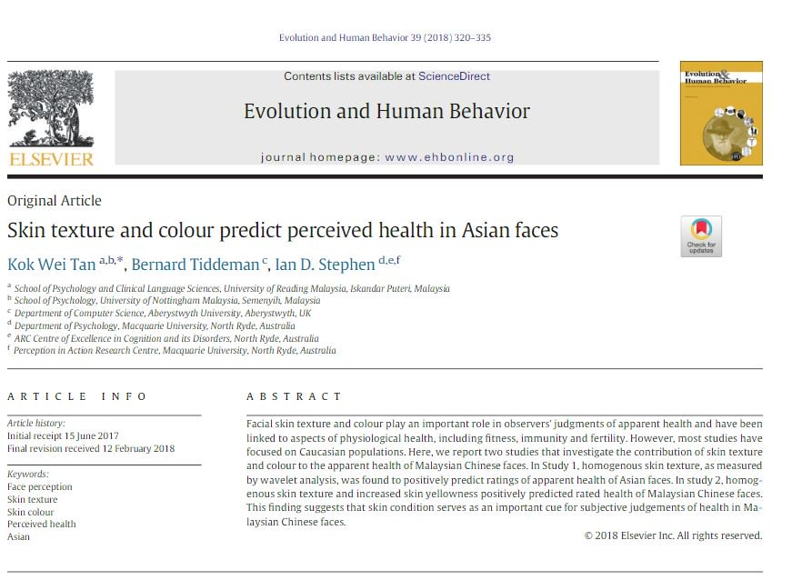 ... #colour predict perceived #health in Asian faces