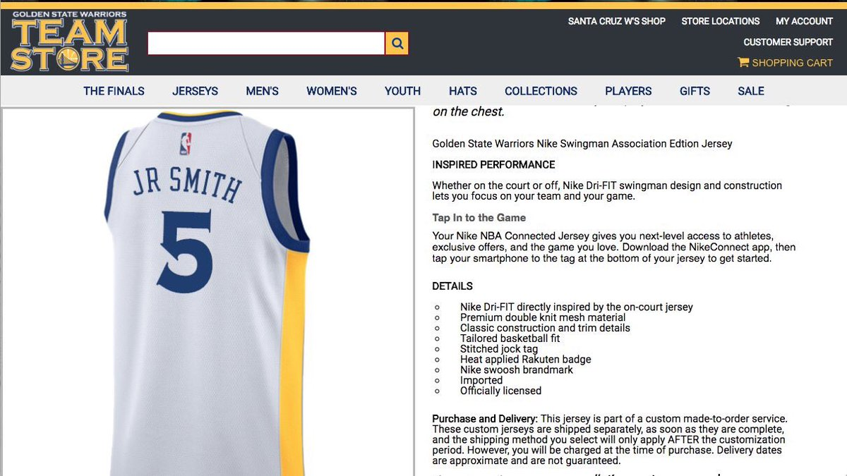 sports shoes 55491 2d436 JR Smith jersey current #1 seller in Warriors team store ...