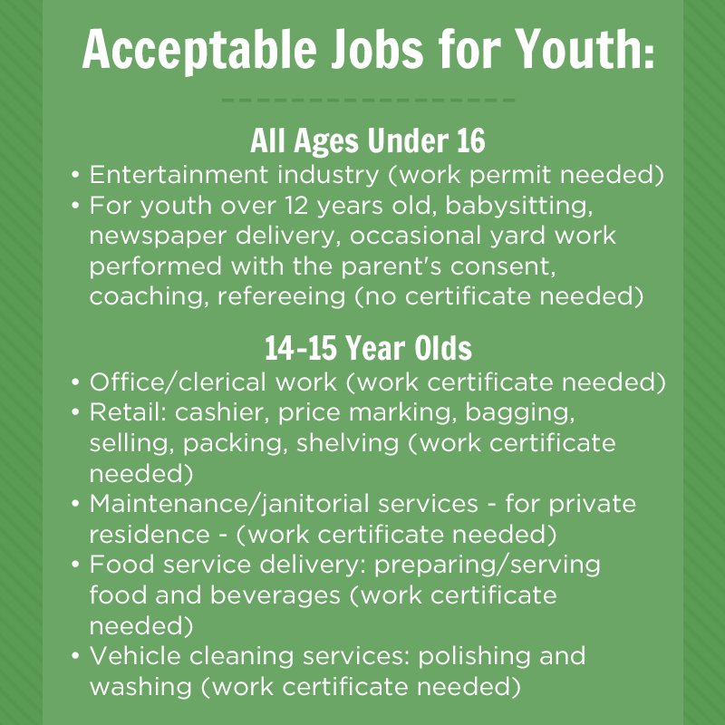 Mo Dept Of Labor On Twitter Summer Jobs Are A Great Opportunity For Teens And Businesses But It S Important To Know The Acceptable Unacceptable Types Of Work Youth Can Do Visit