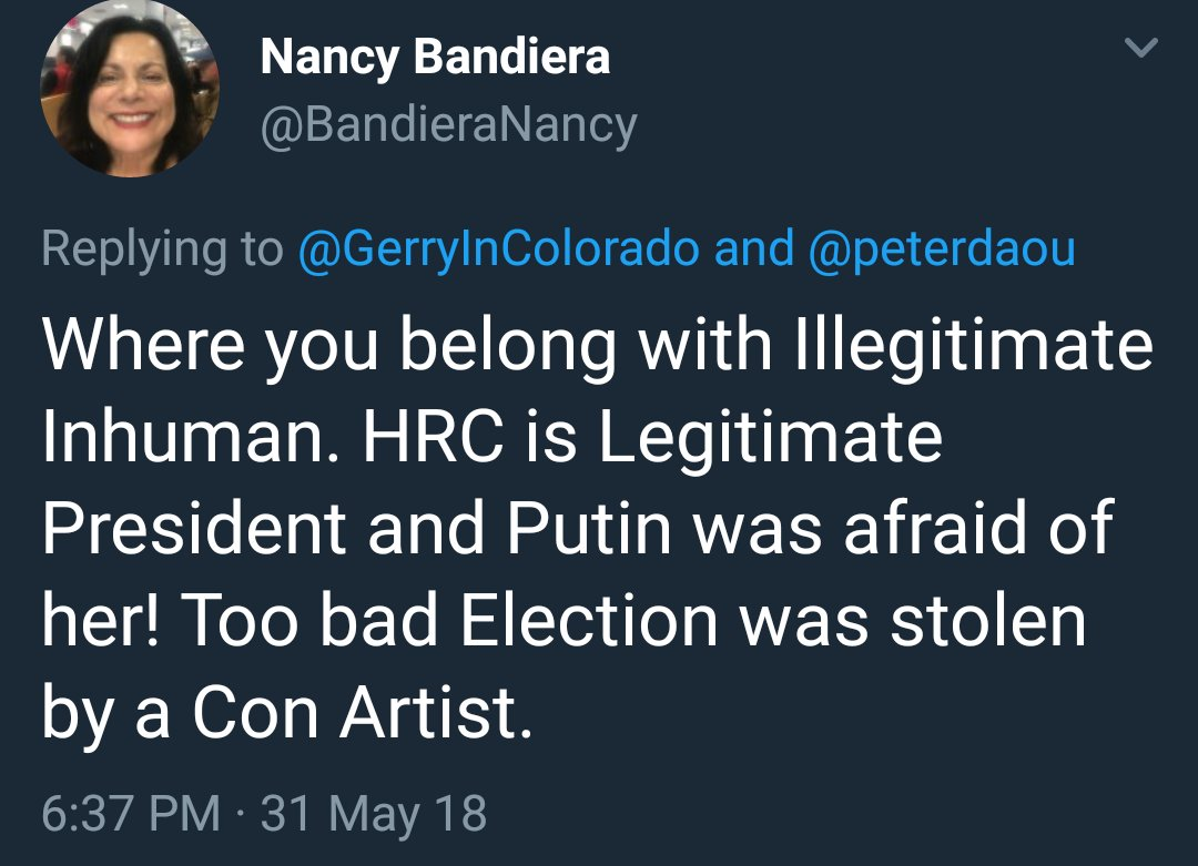 Drops this, then blocks me😎 She probably thinks giving uranium to Russia and hitting the reset button scared Putin to death 😂 @BrandieraNancy