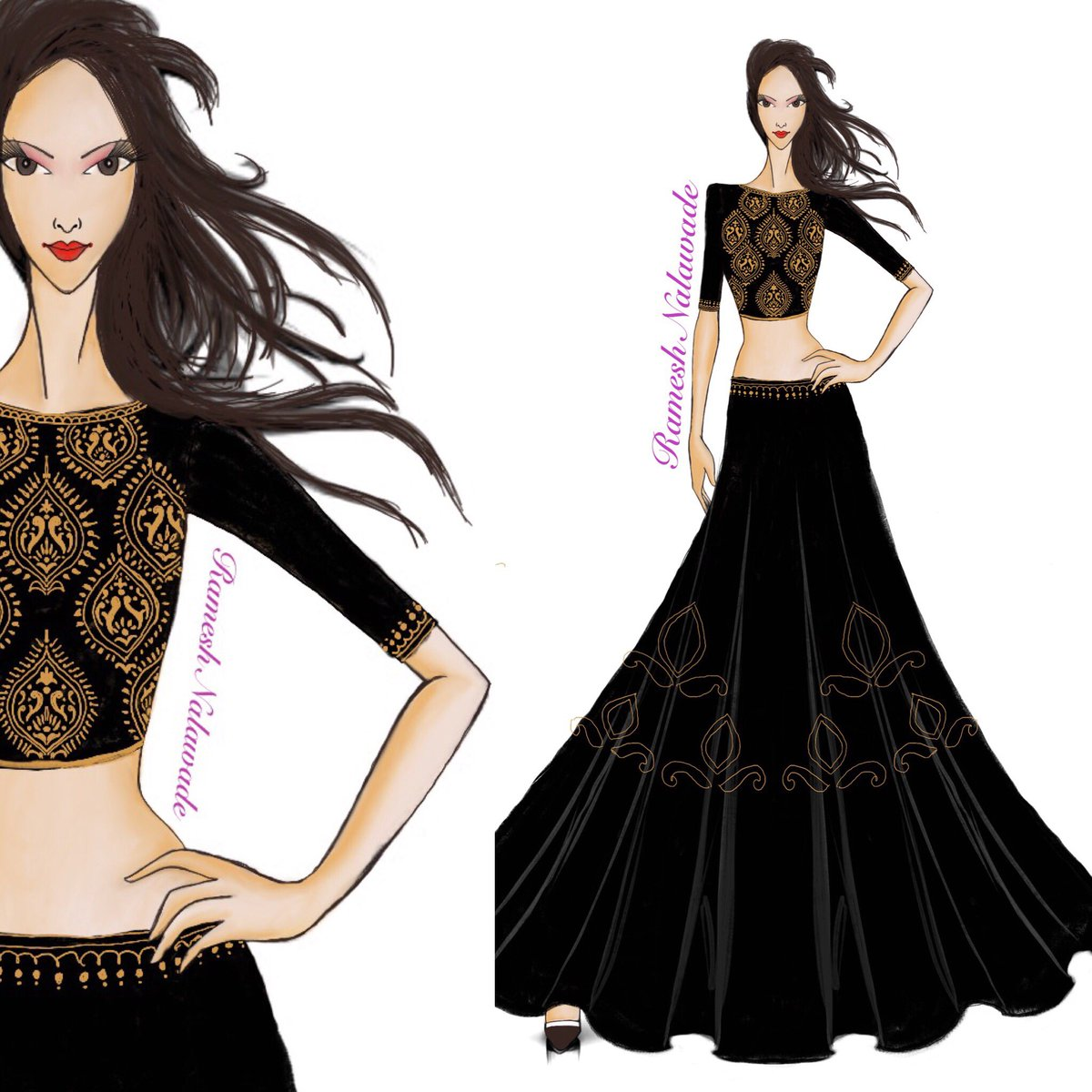Fashion Sketches Indian Dresses Chelss Chapman