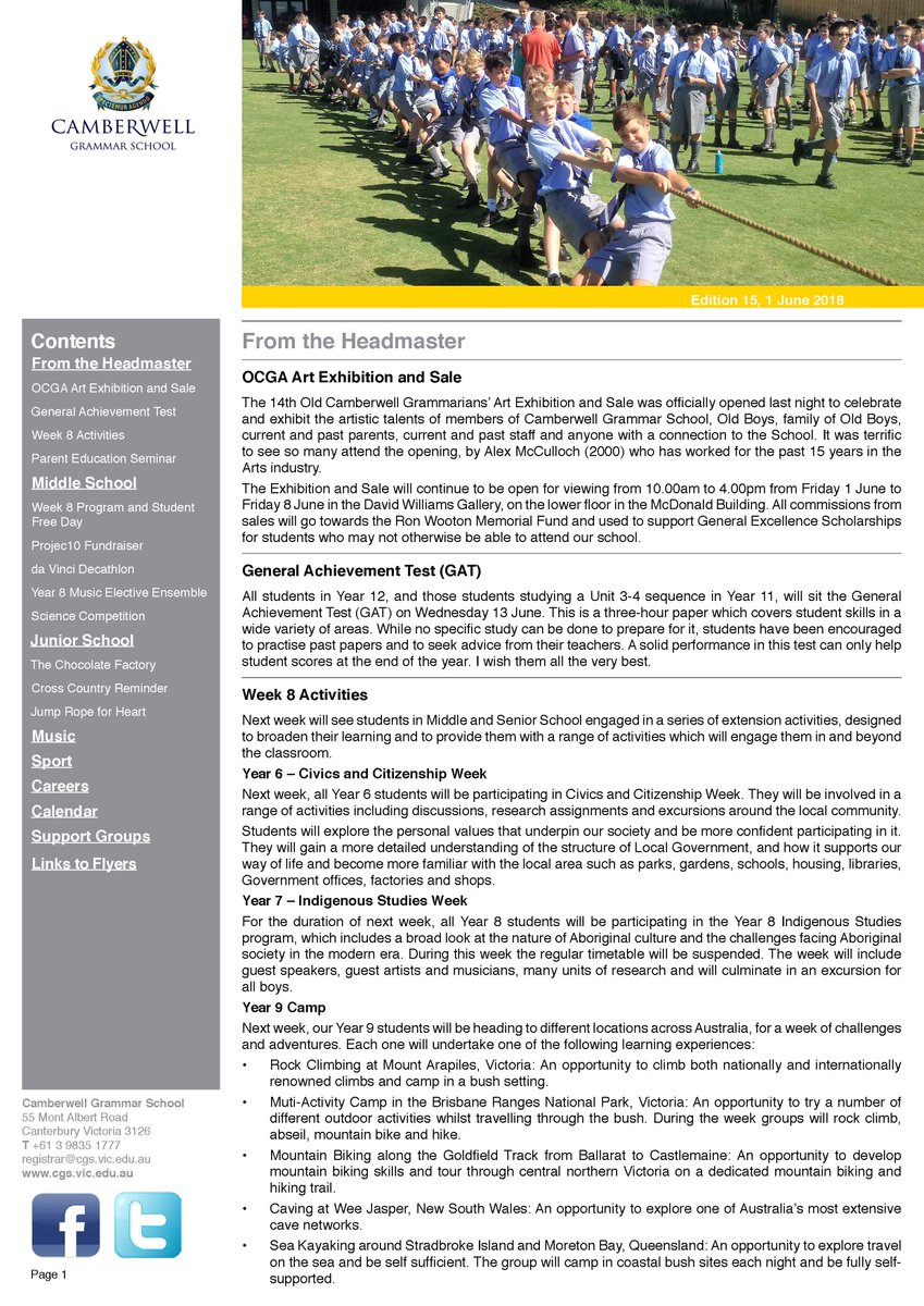 Camberwell Grammar School On Twitter This Weeks CGS Bulletin Can Be Found Using The Following Link Tco Cdycqu162I
