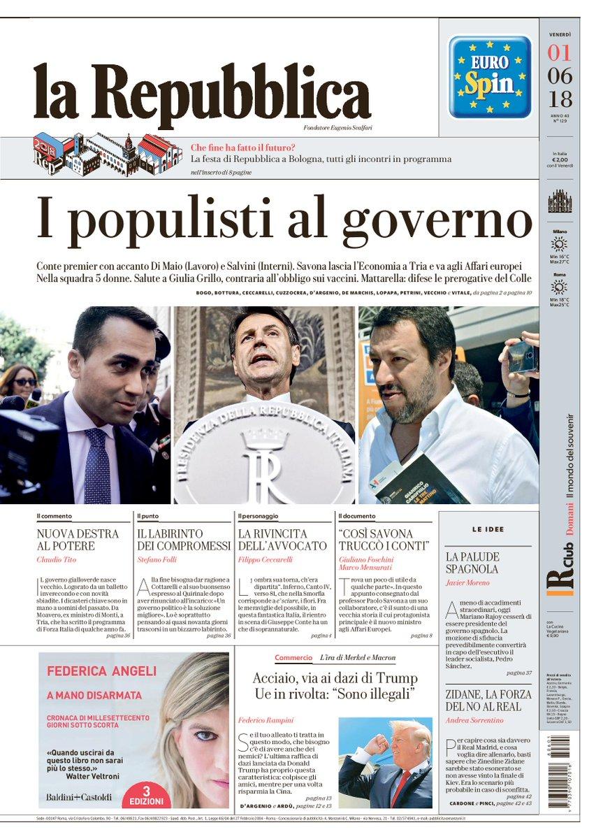 La Repubblica On Twitter I Populisti Al Governo La Prima Pagina
