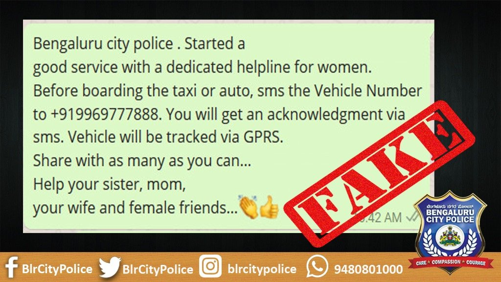 Bengalurucitypolice On Twitter Fake Message Is Floating On Whatsapp Regarding This Number As Bcp S Women Helpline The Number Does Not Belong To Bcp People Are Requested Not To Believe Or Share This