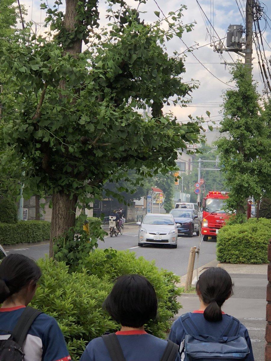 世田谷区深沢で電線燃える火事の現場の画像