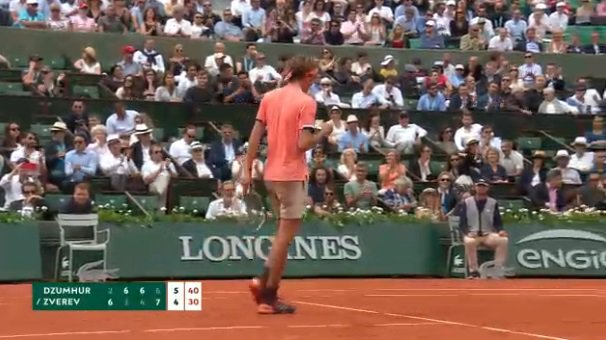 A missed volley by #Zverev gives up match point ... but he saves it with a big serve!