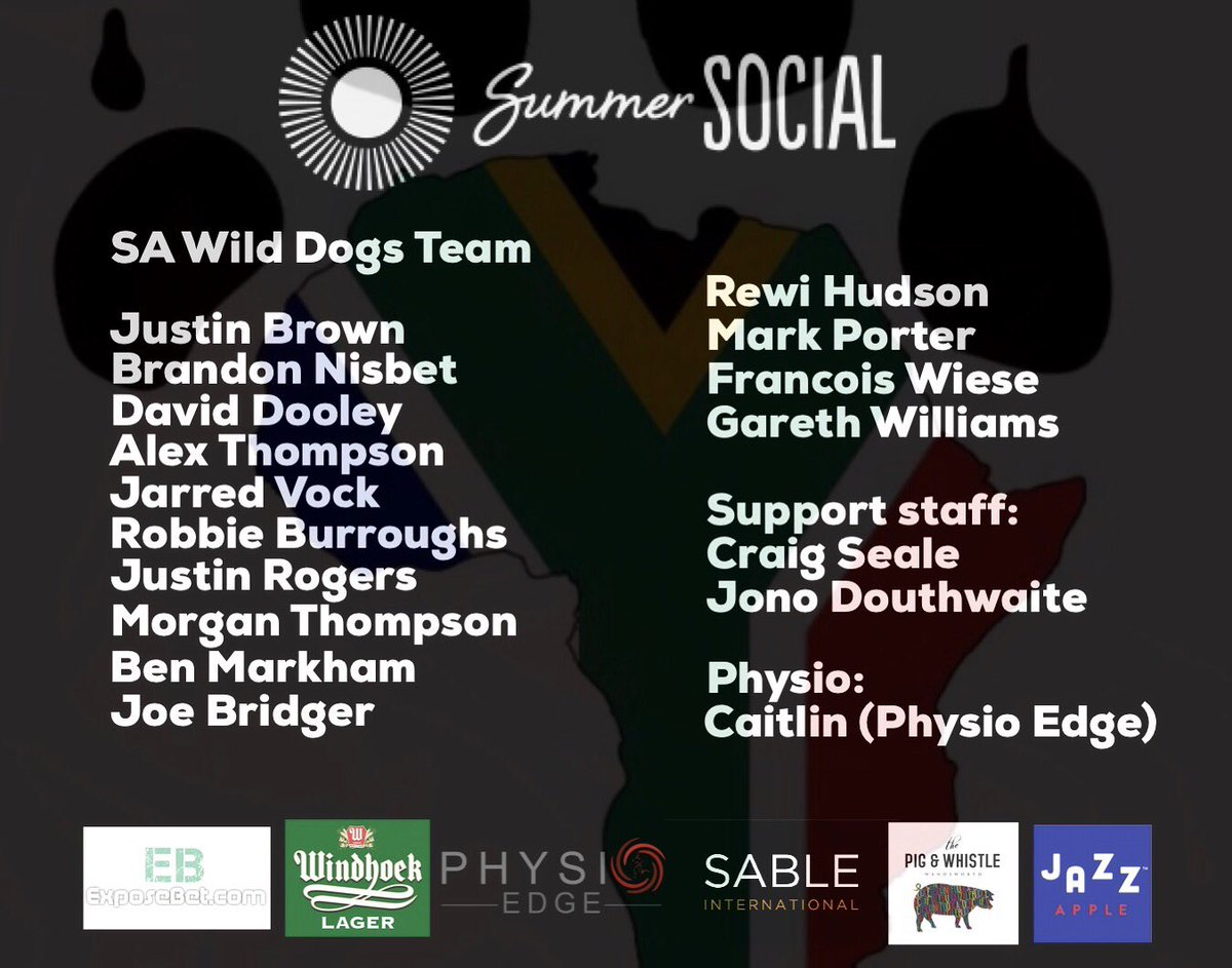 SA Wild Dogs team line up for this Saturdays Summer Social!!! 🔥🔥🔥