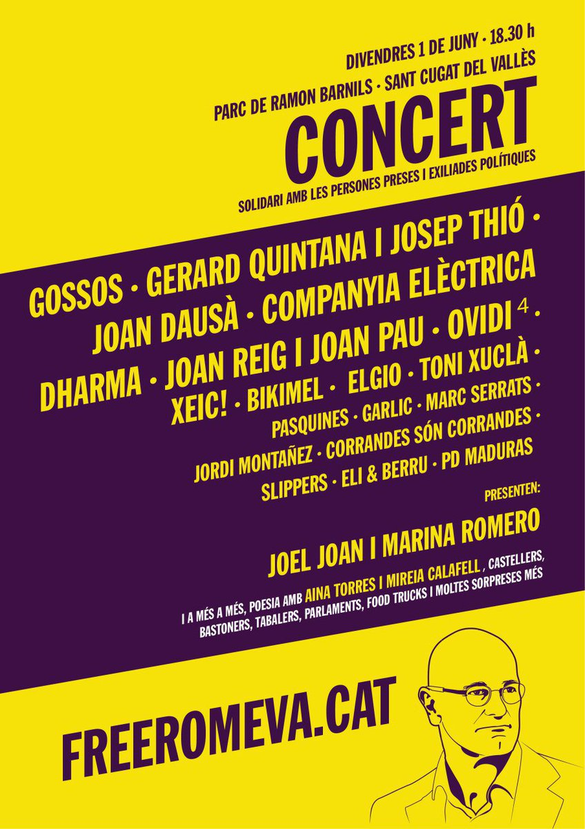 Join us in supporting the campaign to free #Catalonia&#39;s former Foreign Minister @raulromeva imprisoned in #Spain.  Come to the #FreeRomeva concert, with leading Catalan musicians and bands this evening in #SantCugat. #Castellers, food trucks and lots more!  http:// freeromeva.cat / &nbsp;  <br>http://pic.twitter.com/xp7K41q8C0