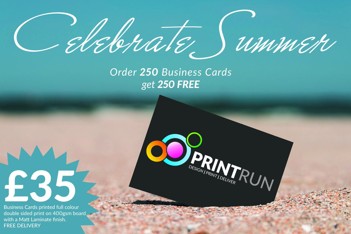 Print run on twitter celebrate summer with our business card offer full colour double sided matt lam business cards for only 35 with free delivery email helloprint run to clam yours today reheart Image collections