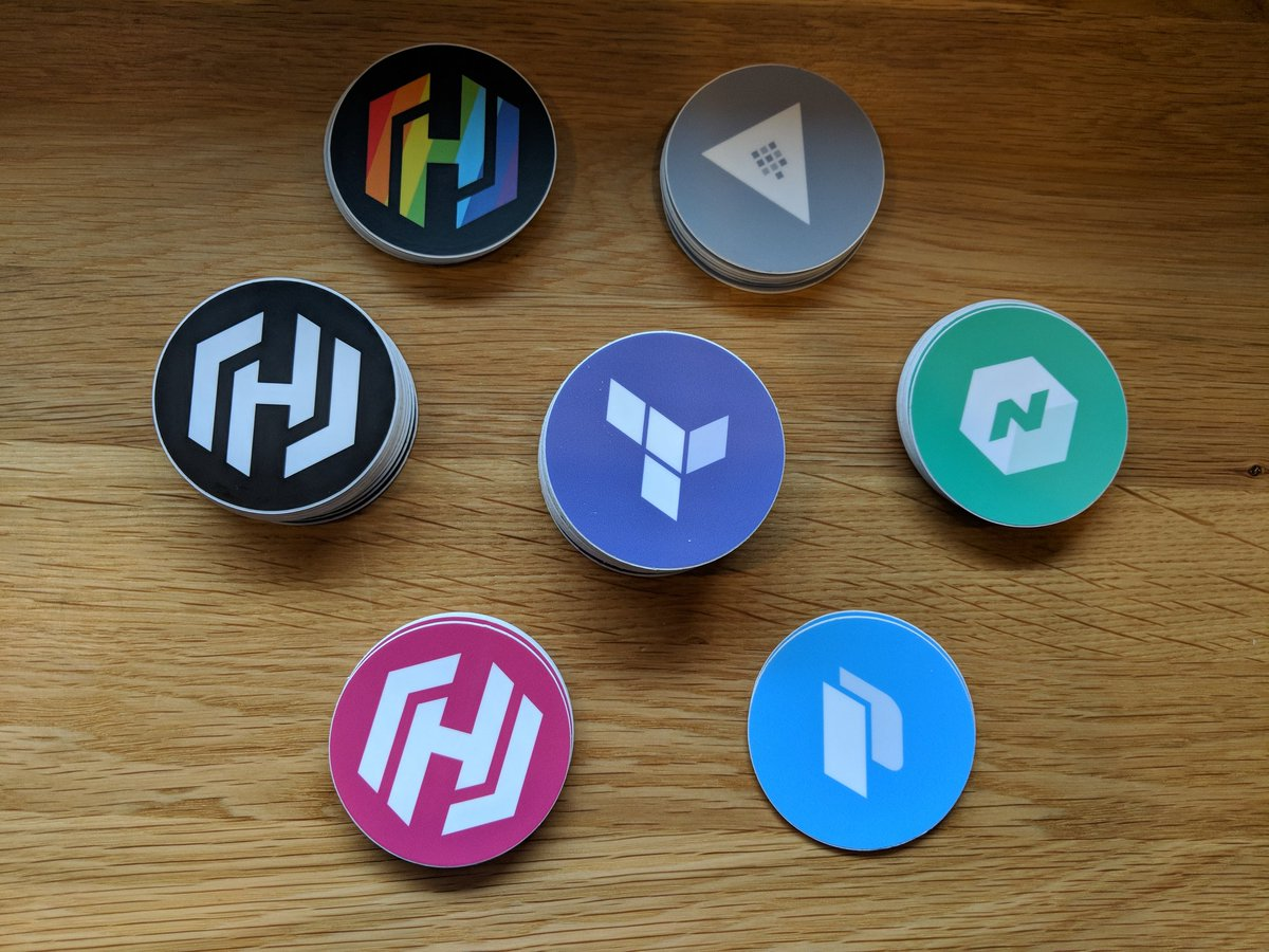 I'm at #gopherconIs @gopherconeu with @bflad, catch us if you want to chat or just want any of these @HashiCorp stickers. You can recognize me by the branded backpack. https://t.co/UFUpc18iwz