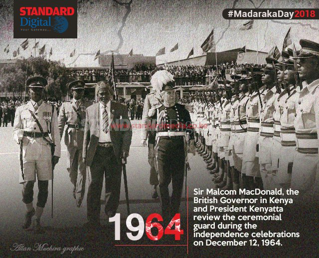 Sir Malcom MacDonald, the British Governor in Kenya and President Kenyatta review the ceremonial guard during the independence celebrations on December 12, 1964 @KTNNews #MadarakaDay2018