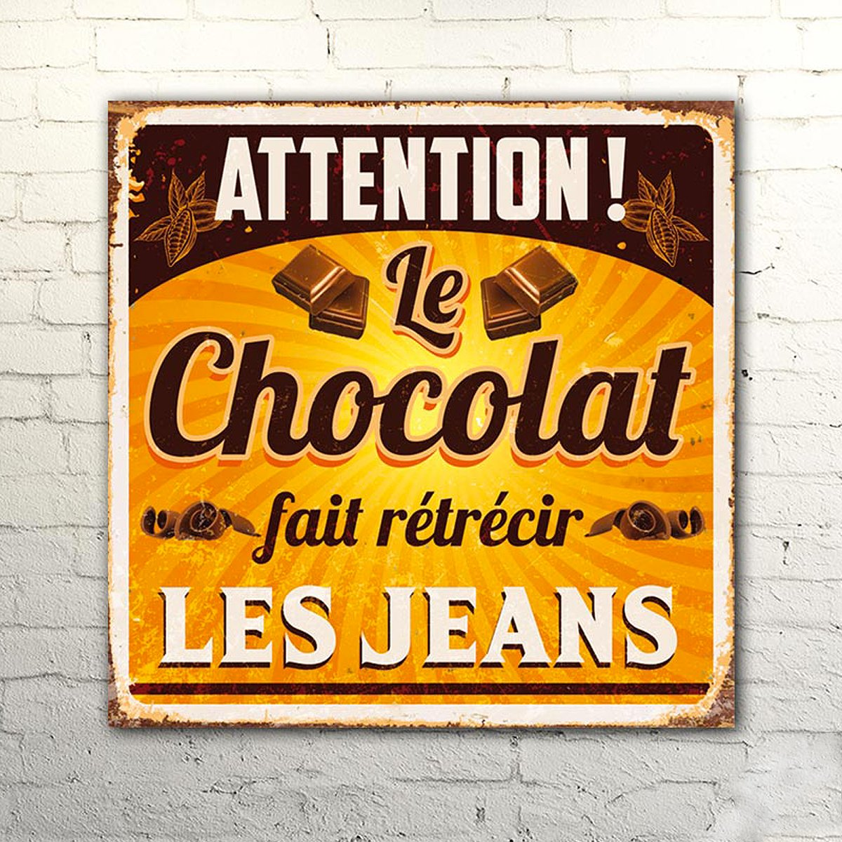 "mycrazystuff.com Twitterissä: ""Plaque métal humour chocolat #déco"