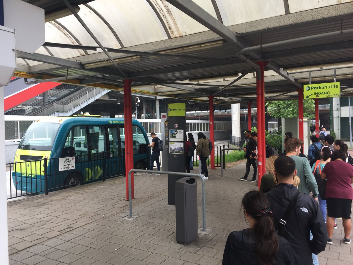 test Twitter Media - Friday morning rush hour at Rivium business park in Capelle aan den IJssel (the Netherlands) with experienced passengers showing British courtesy queuing! #undutch #AutonomousVehicle in daily operations https://t.co/aVdBCT5OEg