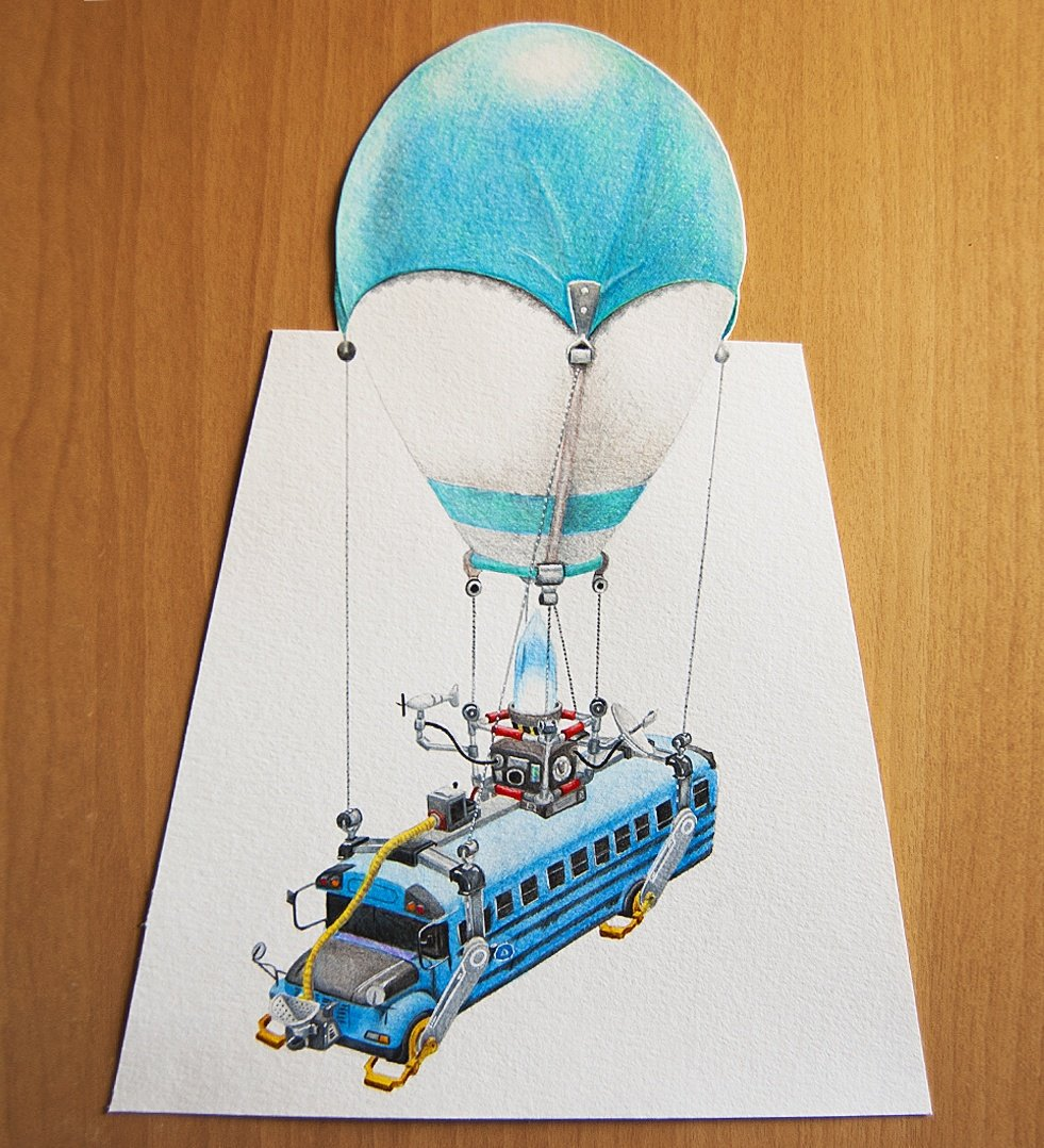 Tina Traces On Twitter My Fortnite Battle Bus Drawing Is Ready