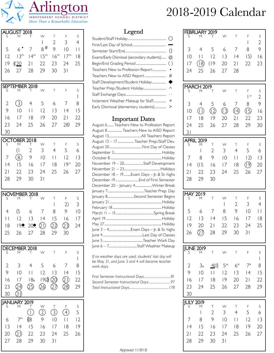 Arlington Isd Calendar 2019-16 Arlington ISD on Twitter: