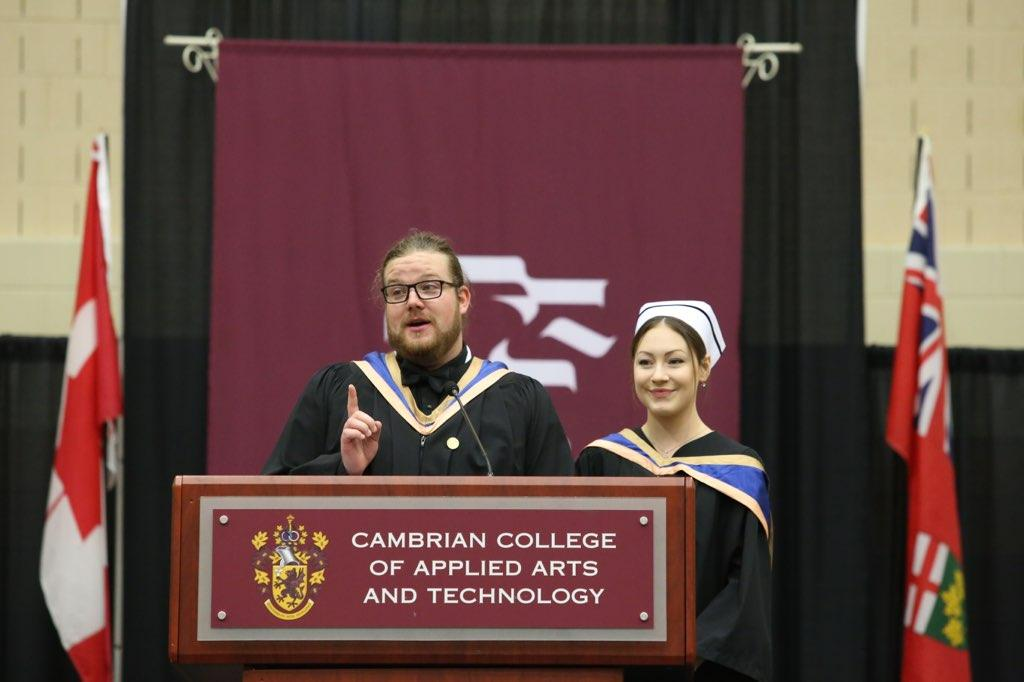 Cambrian College On Twitter Bryton Shaw And Leah Perreault Give Student Address At Convocation This Morning Cambriangrad