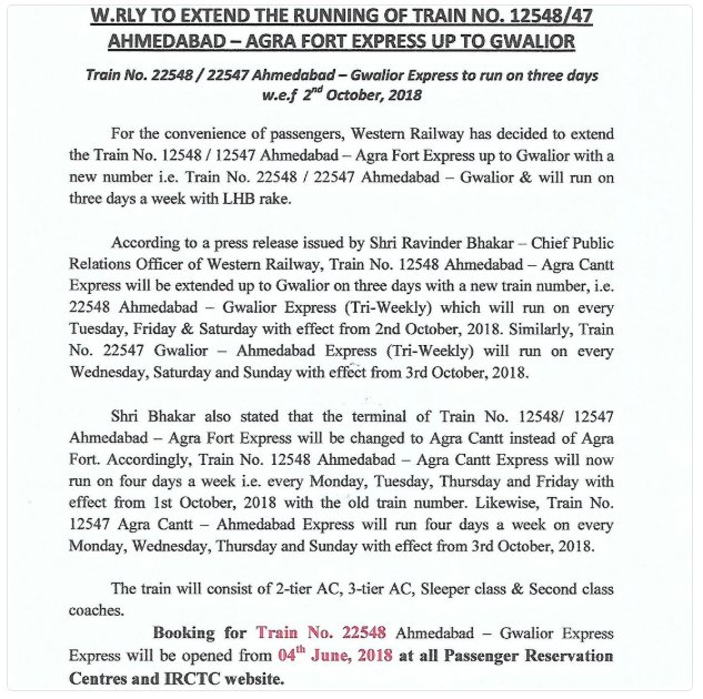 Ahmedabad – Agra Fort train to be extended upto Gwalior from October with new name