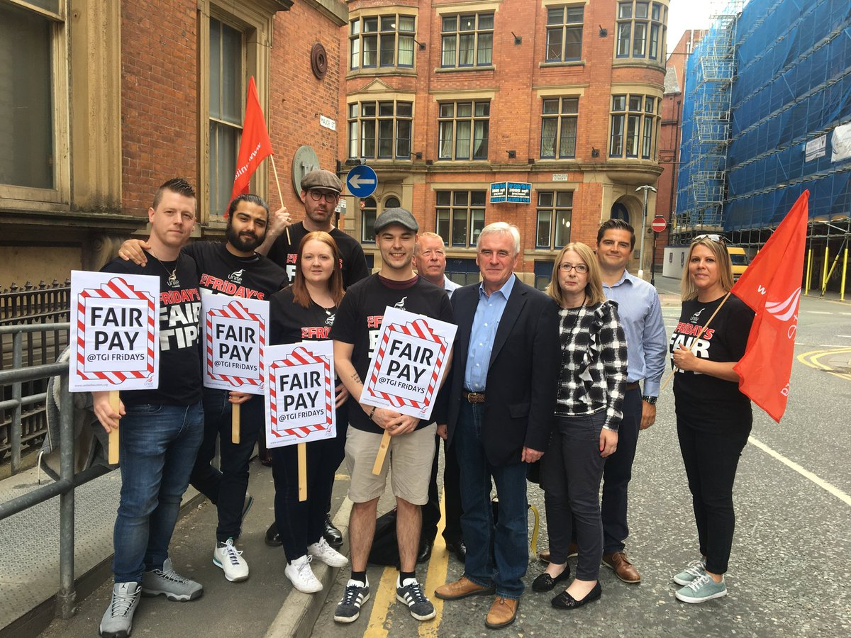 It was great to meet the TGI Friday Unite members on strike for fair pay in Manchester today. They are an inspiration. Solidarity.