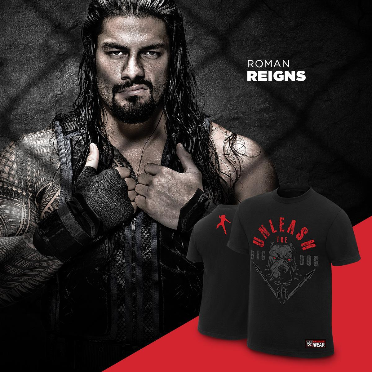 Unleash the #BigDog! New @WWERomanReigns tee now available at #WWEShop. #WWE #RomanReigns bit.ly/2kFwgJq