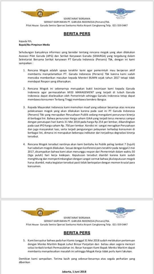 Ribuan Pilot Garuda Ancam Bakal Mogok Kerja saat Mudik