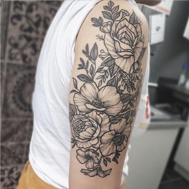 "Stippling Tattoo Sleeves: Jherelle Jay On Twitter: ""Healed Flowers On @jeannn.ie"