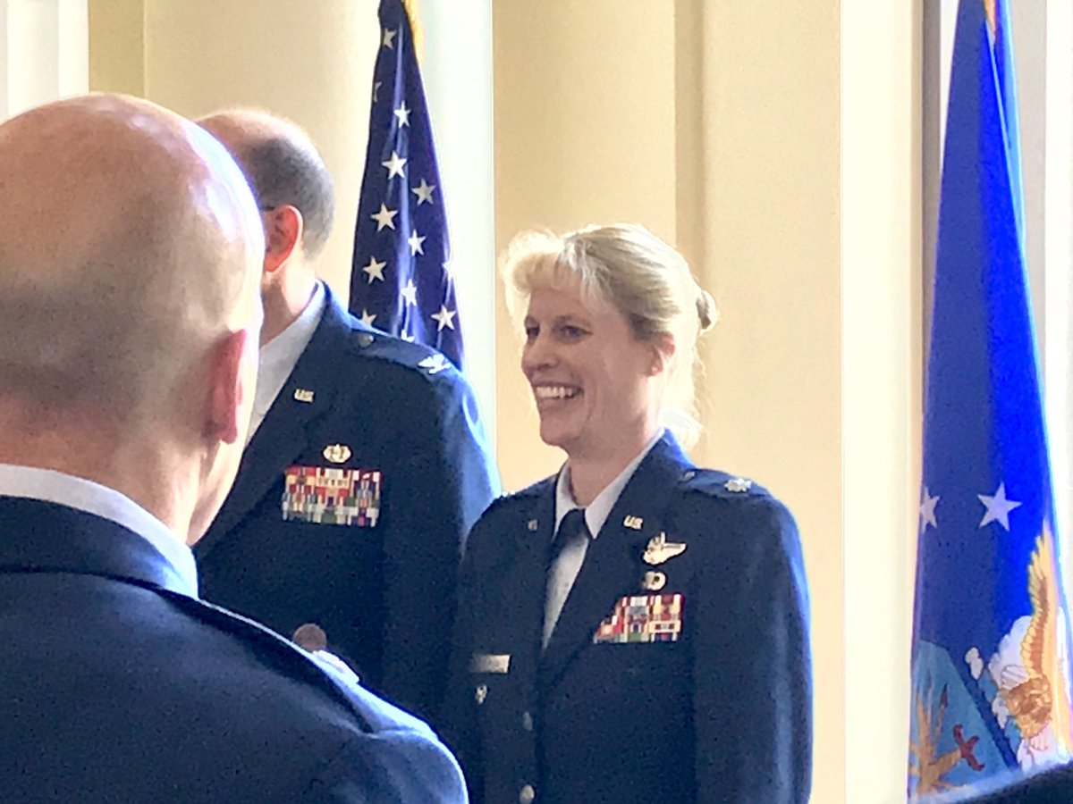 "Two of the newest and finest Colonels in the @usairforce — my National War College classmates Kristen Thompson and George ""Bonsai"" Watkins! Congrats! @NWC_NDU"