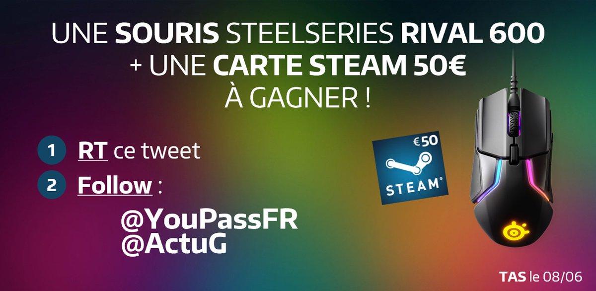 #CONCOURS : Pour fêter le nouveau design, Une Souris Rival 600 + Une Carte Steam de 50€ à gagner ! 🔥 Pour jouer, Follow @YouPassFR + @ActuG et #RT ce tweet ! 😍