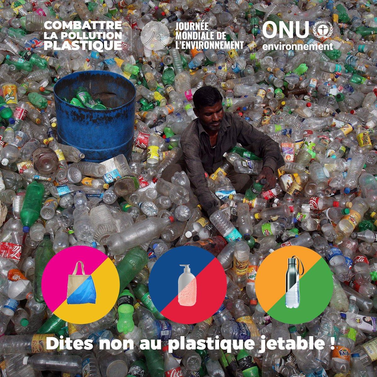 Bannissez les produits en plastique à usage unique. Refusez ce que vous ne pouvez pas réutiliser. Ensemble, nous pouvons ouvrir la voie à un monde plus propre et plus vert. — @antonioguterres pour la #JournéeMondialeDelEnvironnement célébrée le 5 juin : https://t.co/OjHfX0JW84