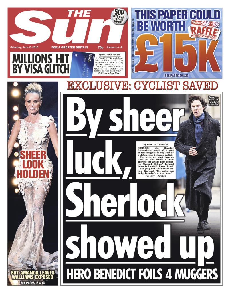 Tomorrow's front page: Sherlock star Benedict Cumberbatch fought off a gang of four muggers as they beat up a defenceless Deliveroo cyclist.
