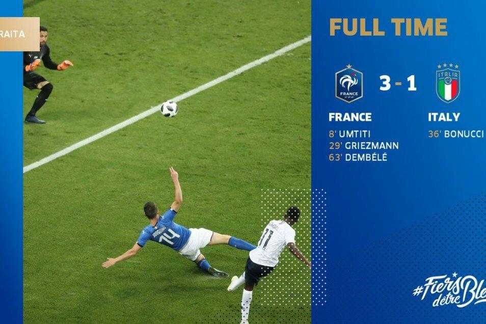 Kết quả Pháp 3-1 Italia