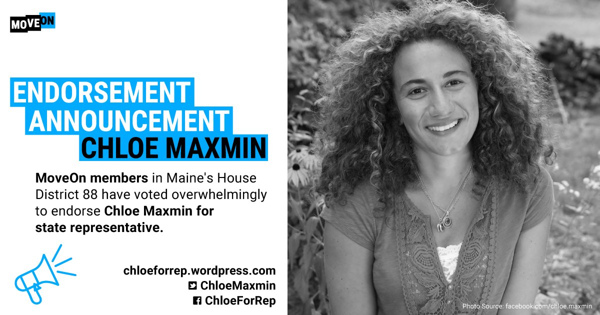 RT @MoveOn The results are in! MoveOn members overwhelmingly voted to endorse Chloe Maxmin for Maine State House District 88. Learn more about Chloe, and sign up for her campaign here: https://t.co/sdASkGuPrr