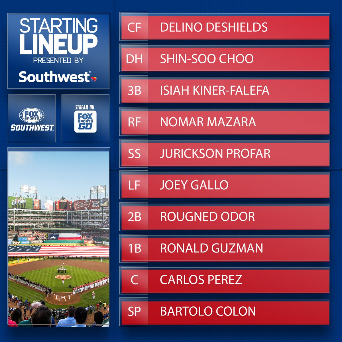 The @Rangers lineup for this series opener is brought to you by @SouthwestAir.  #TexasRangers | #SouthwestAirlines
