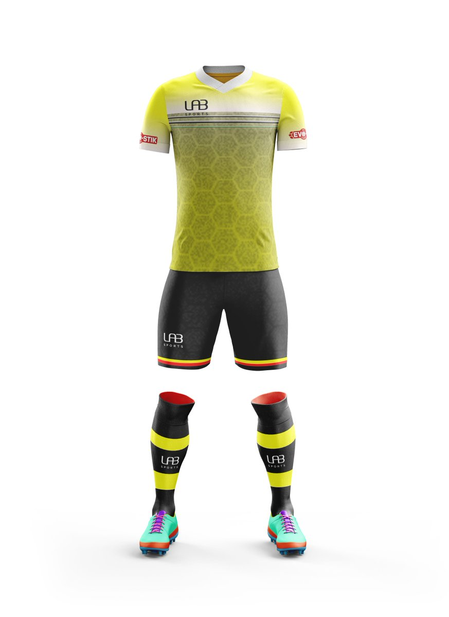 Sneak peek at our Evo football range, more to be revealed soon!  Drop us a message or email us at sales@LABSports.co.uk to get a quote on our football range! From £28 per player! #football #football2018  #sports #footballkit #yellowkit #YellowArmy #Teamwear https://t.co/t0kIj4p3ru