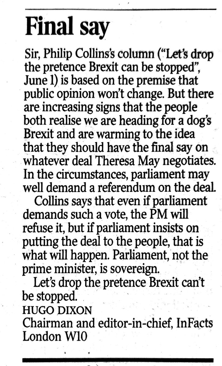 Let's drop the pretence that we CAN'T stop Brexit. My letter in @thetimes